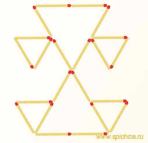 Переложить 4 спички - восемь треугольников