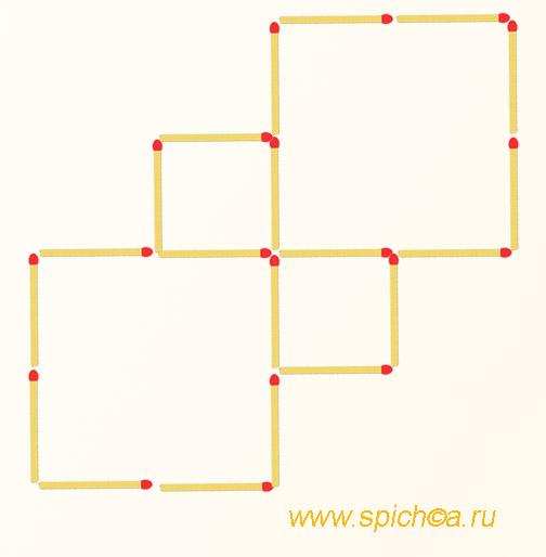 Добавьте 4 спички - семь квадратов