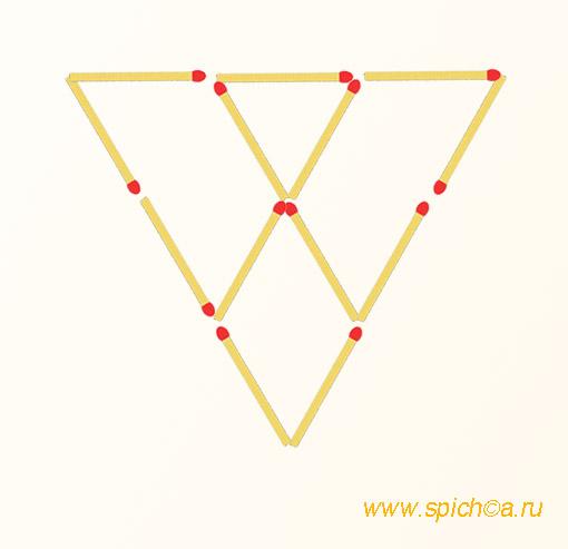 Добавить 4 спички - семь треугольников