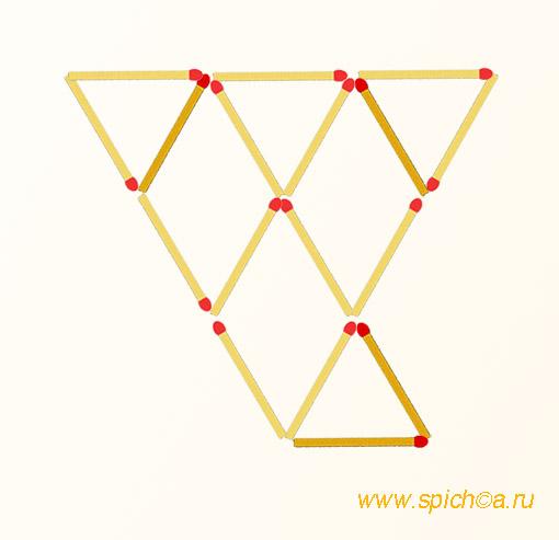 Добавить 4 спички - семь треугольников - решение