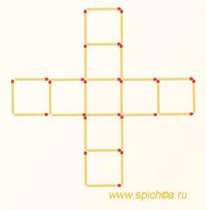 Переложить 4 спички - семь квадратов