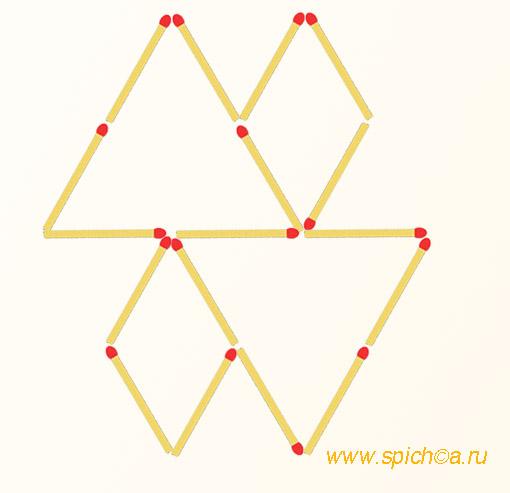 Добавьте 4 спички - 8 треугольников