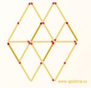 Добавьте 4 спички - 8 треугольников - решение