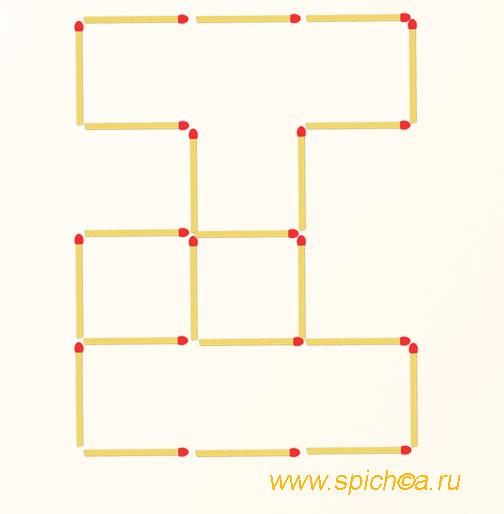 Добавьте 3 спички - семь квадратов