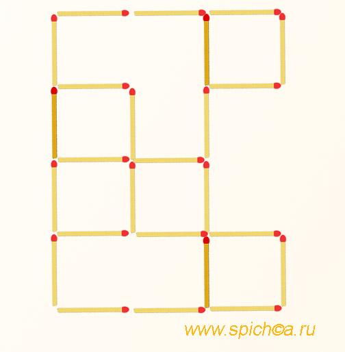 Добавьте 3 спички - семь квадратов - решение