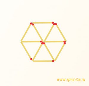 Добавьте 4 спички - 10 треугольников