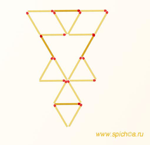 Добавьте 4 спички - 7 треугольников - решение