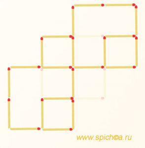 Уберите 4 спички - пять квадратов - решение