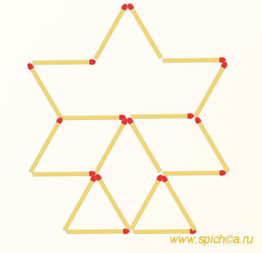 Добавьте 3 спички - 10 треугольников