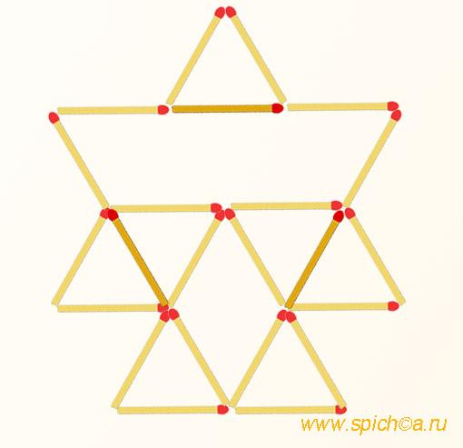 Добавьте 3 спички - 10 треугольников - решение