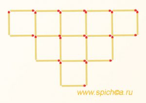 Уберите 10 спички - 4 квадрата