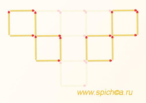 Уберите 10 спички - 4 квадрата - решение
