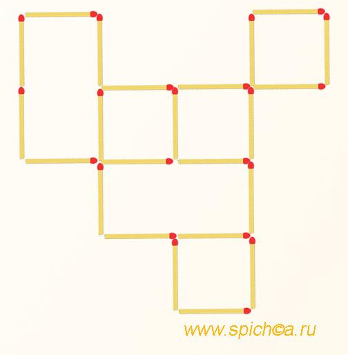 Переложить 2 спички - 8 квадратов