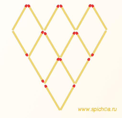 Переложить 4 спички - 8 треугольников