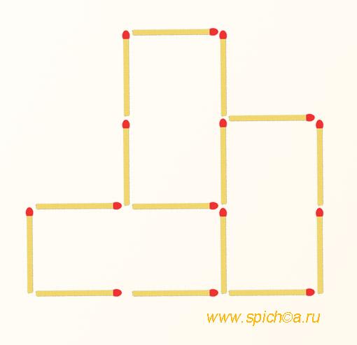 Переложите 3 спички - шесть квадратов