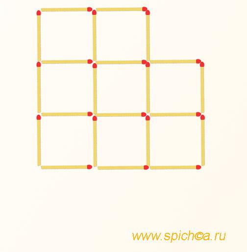 Переложите 3 спички - шесть одинаковых квадратов